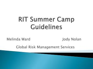 RIT Summer Camp Guidelines