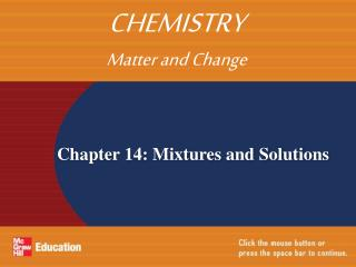 Chapter 14: Mixtures and Solutions