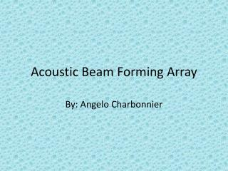 Acoustic Beam Forming Array