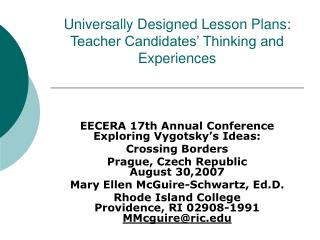 Universally Designed Lesson Plans:  Teacher Candidates  Thinking and Experiences