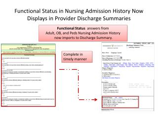Functional Status in Nursing Admission History Now Displays in Provider Discharge Summaries
