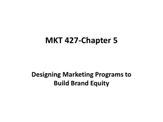 CHAPTER 5   Designing Marketing Programs to Build Brand Equity