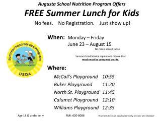 McCall's Playground 10:55 Buker  Playground 11:20 North St.  Playground 11:45
