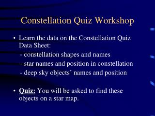 Constellation Quiz Workshop
