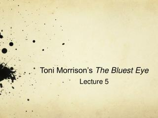 Toni Morrison s The Bluest Eye Lecture 5