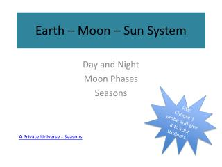 Earth – Moon – Sun System
