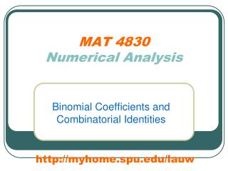 MAT 4830 Numerical Analysis