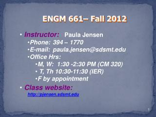 ENGM 661– Fall 2012