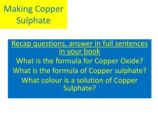 Making Copper  Sulphate