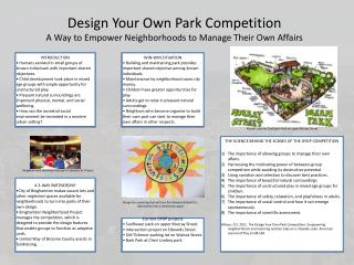 Design Your Own Park Competition A Way to Empower Neighborhoods to Manage Their Own Affairs