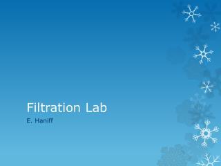Filtration Lab