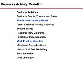 Business Activity Modelling
