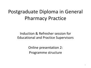 Postgraduate Diploma in General Pharmacy Practice