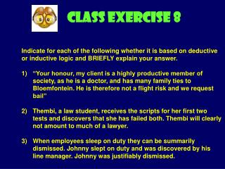 CLASS EXERCISE  8