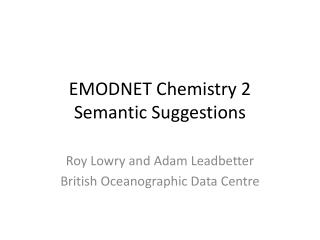 EMODNET Chemistry  2 Semantic Suggestions