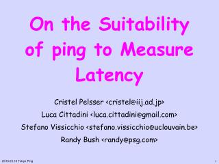 On the Suitability of ping to Measure Latency