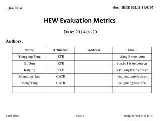 HEW Evaluation Metrics