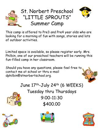 "St. Norbert Preschool ""LITTLE SPROUTS"" Summer Camp"
