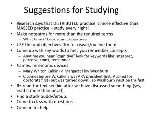 Suggestions for Studying