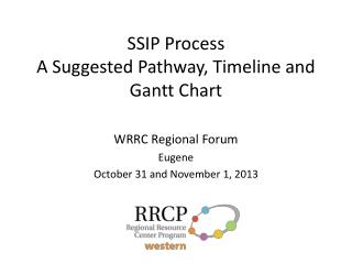 SSIP Process A S uggested Pathway, Timeline and Gantt Chart