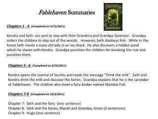 Chapters 1 - 4  (Completed on 9/15/2011)