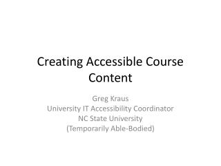 Creating Accessible Course Content