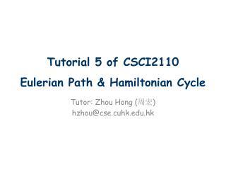 Tutorial 5 of CSCI2110 Eulerian  Path & Hamiltonian Cycle