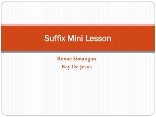 Suffix Mini Lesson