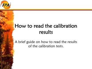How to read the calibration results