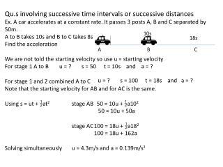 Qu.s  involving successive time intervals or successive distances
