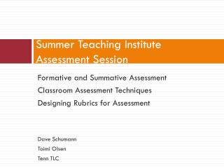 Summer Teaching Institute Assessment Session