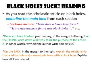 Black holes suck! reading