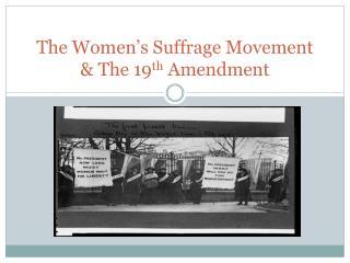 The Women's Suffrage Movement & The 19 th  Amendment