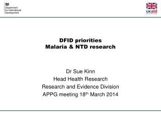 DFID priorities Malaria & NTD research