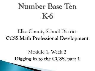 Number Base Ten K-6