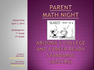 Parent  Math night Arizona's college and career ready standards (AZCCRS)
