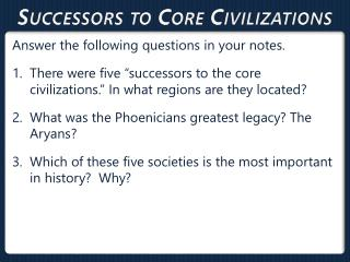 Successors to Core  Civilizations