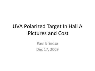 UVA Polarized Target In Hall A P ictures and Cost