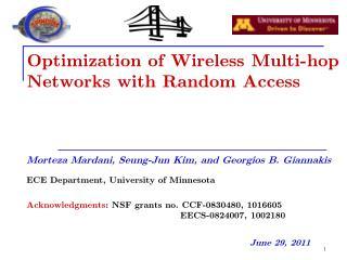 Optimization of Wireless Multi-hop Networks with Random Access