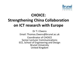 CHOICE:  Strengthening  China  Collaboration  on ICT research with Europe