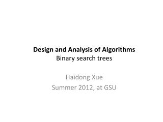 Design  and Analysis of  Algorithms Binary search trees