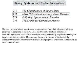 Binary Systems and Stellar Parameters