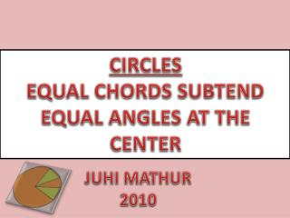 CIRCLES EQUAL CHORDS SUBTEND  EQUAL ANGLES AT THE CENTER