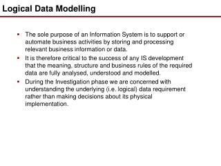 Logical Data Modelling