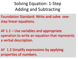 Solving Equation: 1-Step  Adding and Subtracting