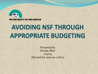 Avoiding  nsf  through appropriate budgeting