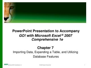 PowerPoint Presentation to Accompany GO!  with  Microsoft Excel  � 2007 Comprehensive  1 e
