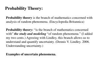 Probability Theory: