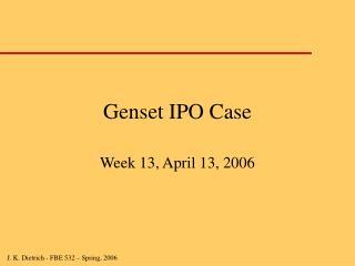 Genset IPO Case