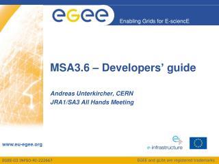 MSA3.6 – Developers' guide
